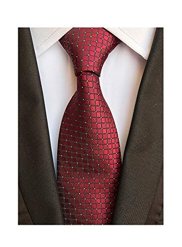 Men's Classic Burgundy Red Tie Jacquard Woven Silk Necktie + Gift Box - Red Woven Silk Necktie