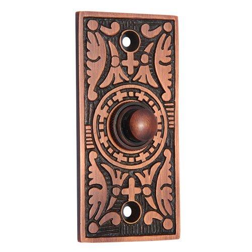 Decorative Doorbell Button (Adonai Hardware Decorative Rectangular Brass Bell Push or Door Bell or Push Button)