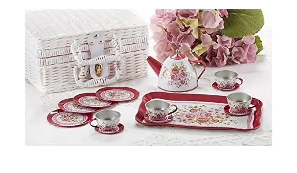 Tin 15pc Tea Set in Basket Peony Delton Products 8001-6