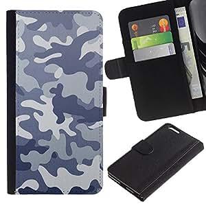 KLONGSHOP // Tirón de la caja Cartera de cuero con ranuras para tarjetas - Modelo del camuflaje CAMO - Apple Iphone 6 PLUS 5.5 //