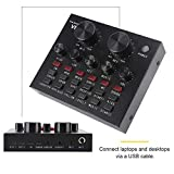 Tangxi V8 Multifunctional Live Sound Card for Phone or PC, Adjustable Audio Mixer Sound Card Multiple Funny Sound Effect for Recording Tiktok YouTube LiveMe Facebook Live Periscope Anchor