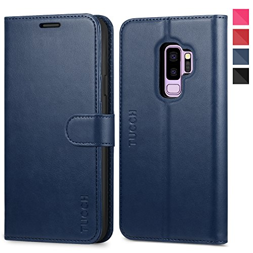 Galaxy S9 Plus Case, TUCCH S9 Plus Wallet Case, PU Leather Phone Case [Card Slot] [Flip] [Stand] Carry-All Case [TPU Interior Protective Case] [Magnetic Closure] for Galaxy S9 Plus, Blue