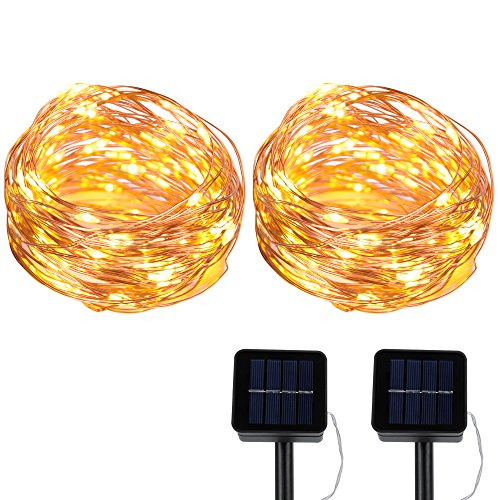EOTW Solar String Lights 2 pack, 100 LED Copper Wire Lights Solar Powered Waterproof Starry String Lights, Indoor/Outdoor Solar Decorative Fairy Lights for Gardens/Patios/Homes/Parties