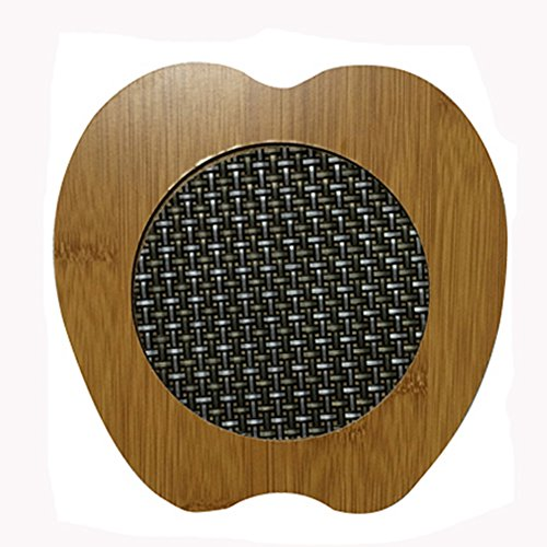 Fashionable Moso Bamboo Place Mat/ Cup Mat/ Pot Holder, Apple, Set of 4