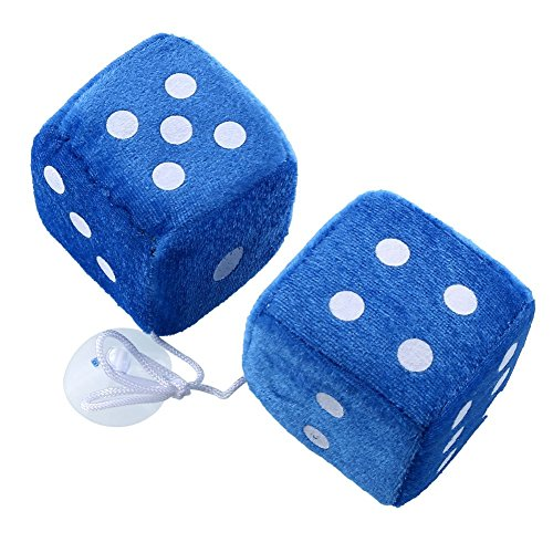 Pair Blue Fuzzy Dice Dots Rear View Mirror