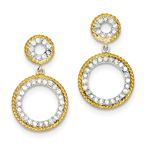 Diamond2Deal 925 Sterling Silver and Vermeil Cubic Zirconia Circle Post Earrings Solitaire Vermeil Earrings