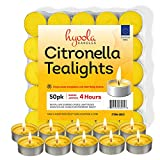 Tealight Citronella Candles - 50 Pack Indoor and Outdoor Decorative and Mosquito, Insect and Bug Repellent Candle - Natural Fresh Scent - 4 Hour Burn Time