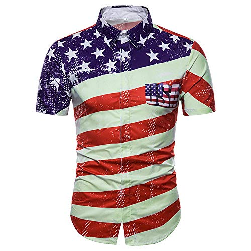 (FONMA Men's Casual Slim Short Sleeve American Flag Printed Shirt Top Blouse Red )