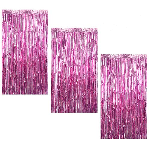 Pink Halloween Party (3Pcs 3.2ft x 8.2ft Pink Metallic Tinsel Foil Fringe Curtains for Halloween Party Bachelorette Birthday Wedding Baby Shower Engagement Holiday Party Decorations - Party Photo)