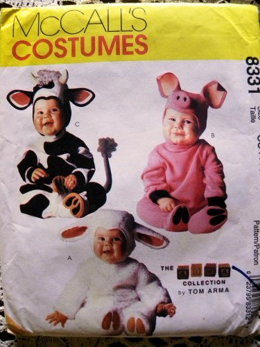 (McCall's 8331 Toddler Farm Animal Costumes Sewing Pattern Size 2, 3, 4 Pig Cow)