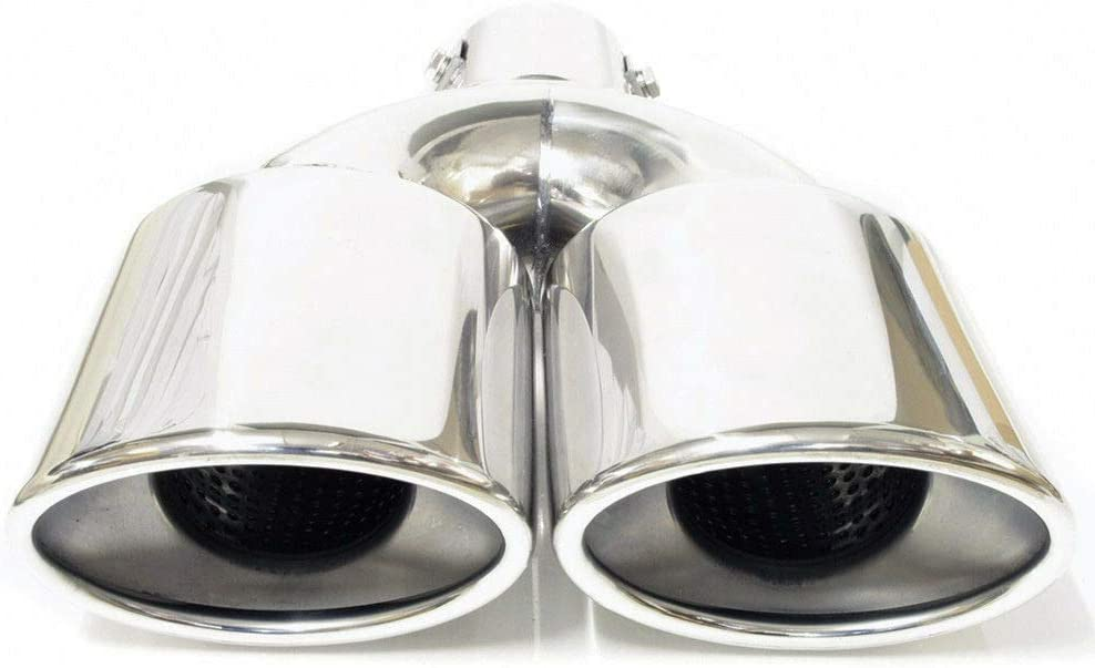 958 Double Twin Dual Exhaust Pipe Tip Trim Tail Muffler Stainless Steel Chrome Performance Sport Universal
