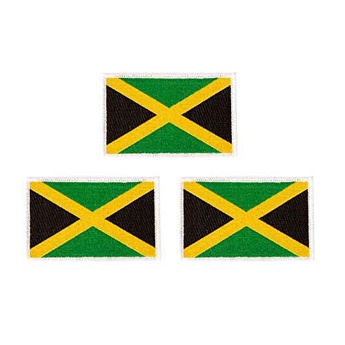 Jamaica Flag Patch Bulk 3-Pack 3.5Wx2.25H State Iron On Sew Embroidered Tactical Morale Back Pack Hat Bags Jamaican (3-Pack Patch) ()