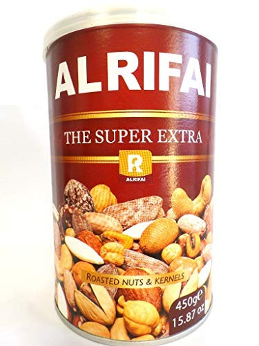 AlRifai Super Extra Roasted Nuts and Kernels The Super Extra TIN 15.87 Oz. 450gm.