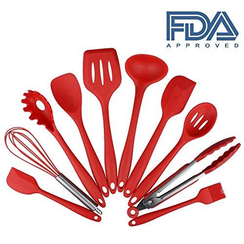 Küchenhelfer Set - Swify 10 Stück Premium Silikon Küchen Utensilien Set - GrillZange, Schneebesen, Silikon Pinsel, Teigschaber, Schaumlöffel, Löffel Nudeln, Reis Paddel, Kelle, Suppenlöffel - Hitzebeständige Koch- und Backzubehör