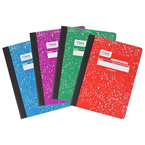 Mead 3 Subject Composition Notebook Set, Wide Ruled, 120 Sheet (240 Page), Assorted, Pack of 4 (Subject Divider Books)