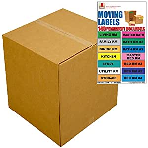 """UBOXES Large Moving Boxes - Pack of 6-20""""x20""""x15"""" & Moving Labels"""