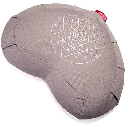 Peace Yoga ZafuMeditation Buckwheat Filled Crescent Cotton Bolster Pillow Cushion – Gray - Meditation Pillow