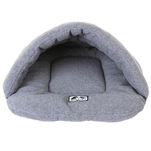 Japace ® Einzelne Hundebett Hundehaus Hundehöhle Haustier Bett Warm Schlafsack Matte Korb Kissen hundehütte für Hunde, Katzen - Grau, Größe L 58*68 cm