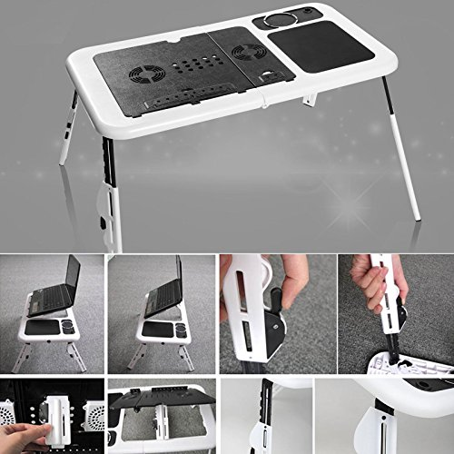 Folding Lap Desk Adjustable Laptop Table for Home, Bed with 2 Cooling Fans, Mouse Pad, Drink Holder and Pen Holder by rampmu (Image #4)
