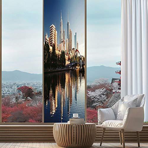 YOLIYANA Stained Glass Window Film,City,for Bathroom Shower Door Heat Cotrol Anti UV,Idyllic View of Yarra River Melbourne Australia Architecture,24''x78''