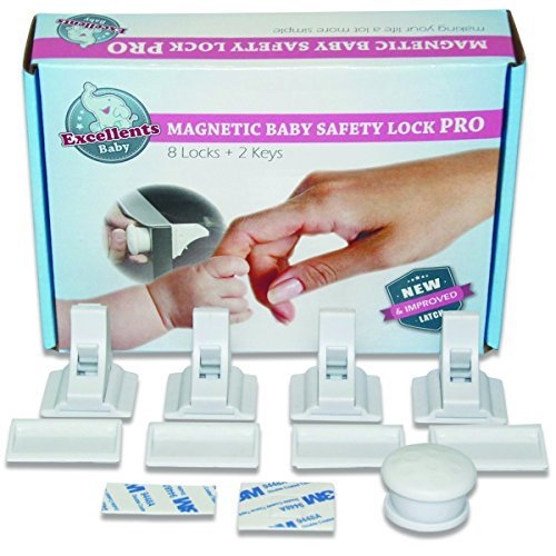 Excellents Baby Magnetic Cabinet Safety Locks. Pro 8 locks+ 2 Keys keep your child safe. Baby proofing Easy to install just Stick on - No drilling With Extra Strong 3M Tape! (Option with Screws)