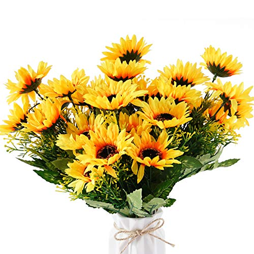 Beferr Artificial Sunflower Bouquet Forever Flowers Bunch Yellow Helianthus Green Leaves for Art Home Decoration Office Party Wedding 4 Pcs
