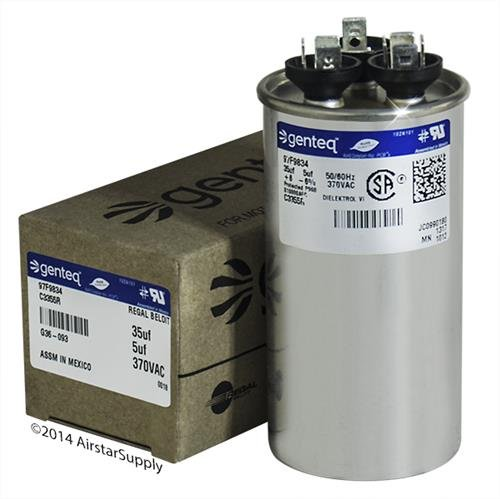GE Genteq Capacitor Dual Run Round 35/5 uf MFD 370 Volt VAC 97F9834 (replace old GE# Z97F9834) 35 + 5 MFD at 370