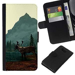 NEECELL GIFT forCITY // Billetera de cuero Caso Cubierta de protección Carcasa / Leather Wallet Case for Samsung ALPHA G850 // Alce Elk Lake
