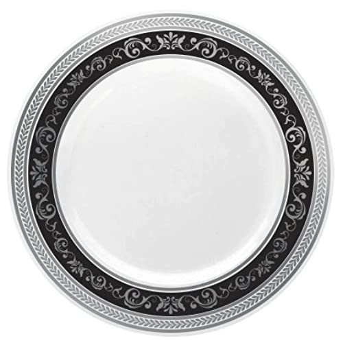 Posh Setting Royal Collection China Look White Silver/Black Plastic Plates (Includes 4 Packs of 10.25\u0027\u0027 Dinner Plates A total of 40 plates) Fancy ...  sc 1 st  Amazon.com & Charger Plates Bulk Wedding: Amazon.com