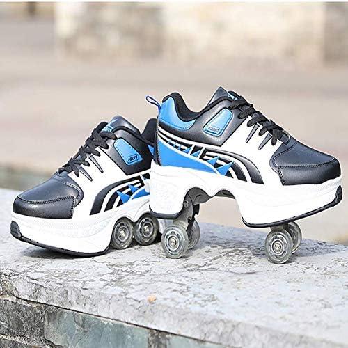 YXRPK R/ädern Sportschuhe Multifunktionale Deformation Schuhe 2 in 1 Quad Rollschuhe Skating Beste Wahl Als Geburtstagsgeschenk