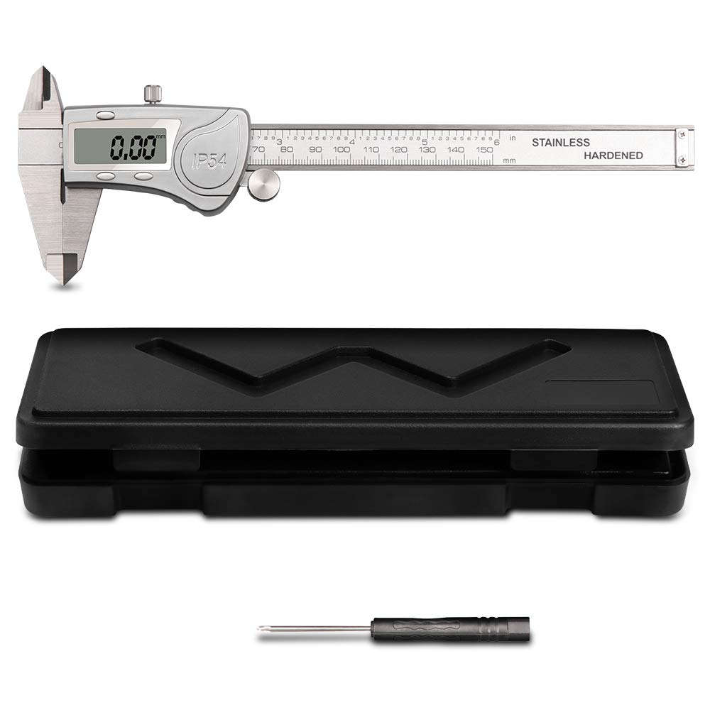 Digital Caliper, HOMCA Vernier Caliper Electronic Vernier Gauge 150mm 0-6' Inch/Metric/Fraction Conversion Micrometer Digital Vernier Caliper LCD Display with Case
