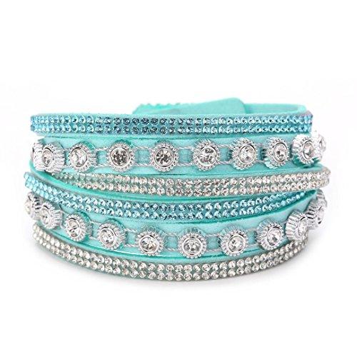 Sweet Diamonds Bracelet (Swyss Multilayer Leather Diamond Bracelet Personality Chic Charm Jewelry Bangles Sweet Style New Hot Fashion (F))