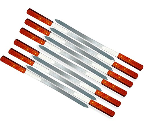23-Inch Heavy Duty 1-Inch Wide BBQ Barbecue Shish Kabob Skewers Wooden Handles Stainless Steel (12)