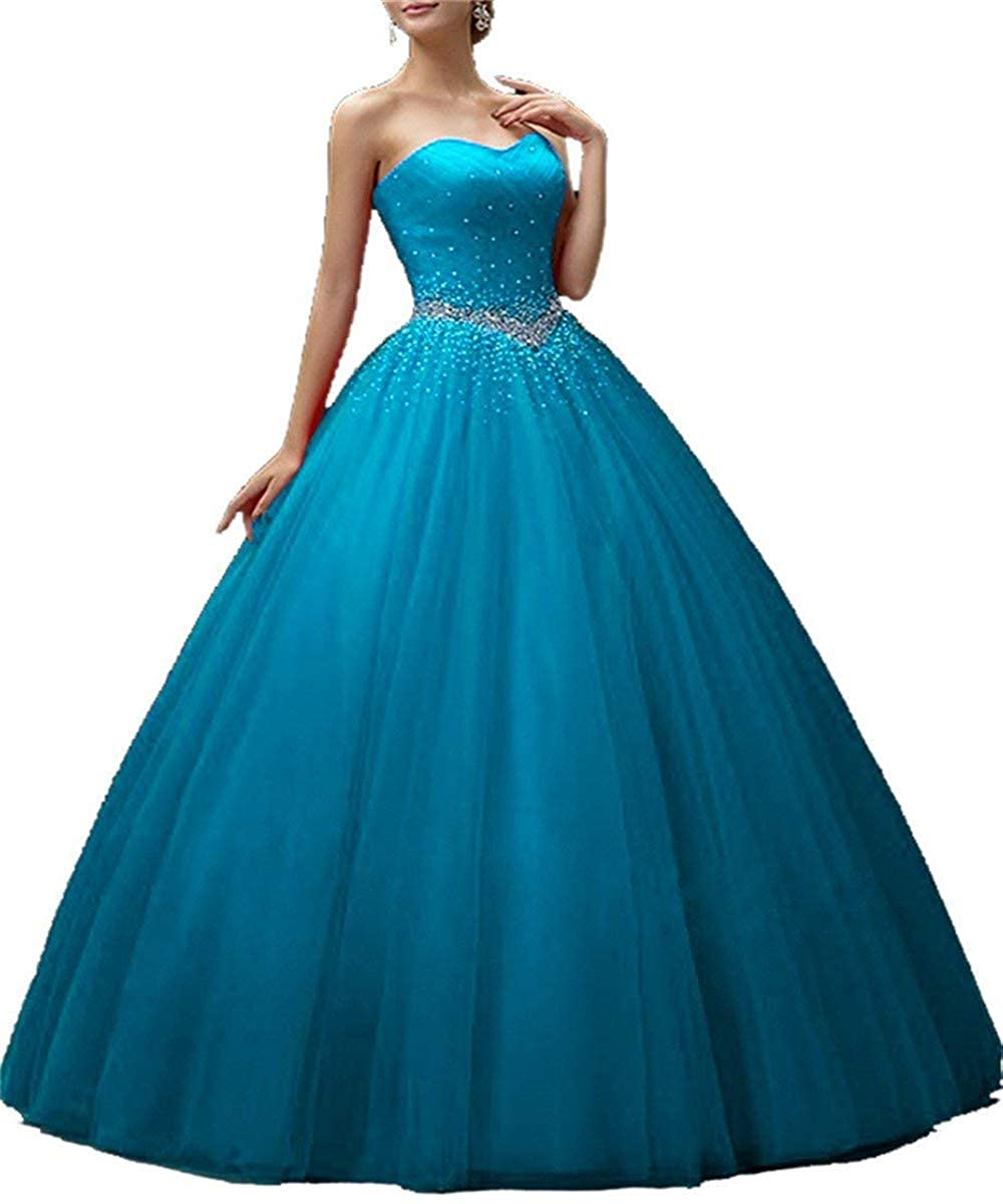 bluee Sophie Women's Sweetheart Tulle Quinceanera Princess Dresses Long Beaded Prom Ball Gowns S142