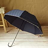 Drak Blue Women'S Long Handle Sun Umbrella Dot Printed Girl Lovely Straight Rain Umbrella