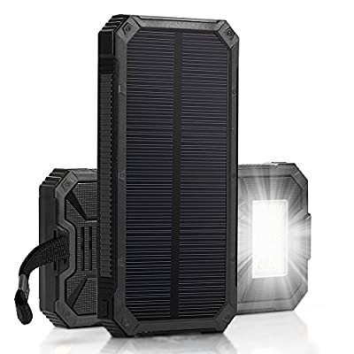 [15000mah Solar Panel Charger with 6LED Flashlight] Hallomall Portable Phone Charger Backup Power Pack, Dual USB Port External Battery Charger for Smart phones Camera and Other 5V USB Devices