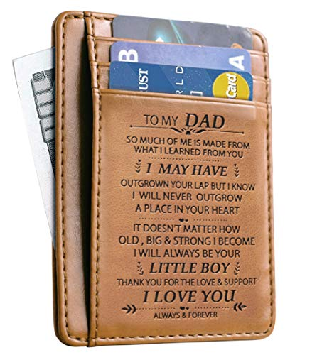 Memory gift - Slim minimalist wallet RFID- Front pocket wallet RFID- Credit card holder for men. Gift from son to Dad.