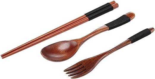 Ecloud Shop/® Los Palillos de Madera Hechos a Mano Cuchara y Tenedor Vajilla Set con Bolsa de