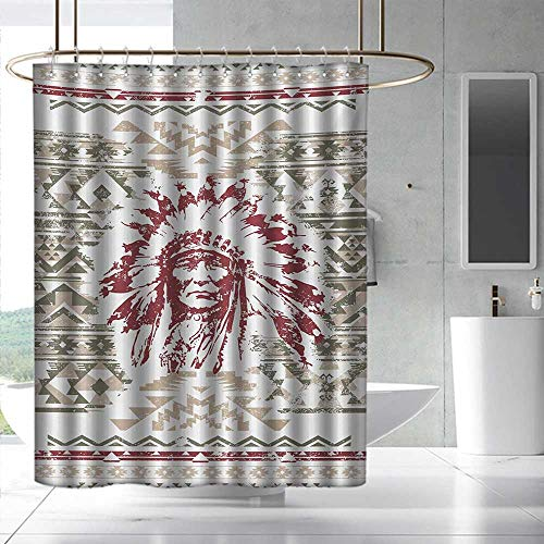 (Fakgod Native American Shower Curtain&Metal Hooks Retrp Eagle Heart Chief Trail Grunge Effect Ethnic Geometric Motif Bathroom Curtain Washable Polyester W72 x L84 Tan Sage Green Ruby)