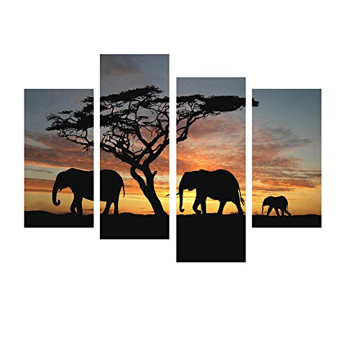 Modern Canvas Wall Art Decor African Forest Elephant Home Decoration Landscape Mural Art on Canvas 4pcs/set,Framed and Stretched,Ready to Hang on