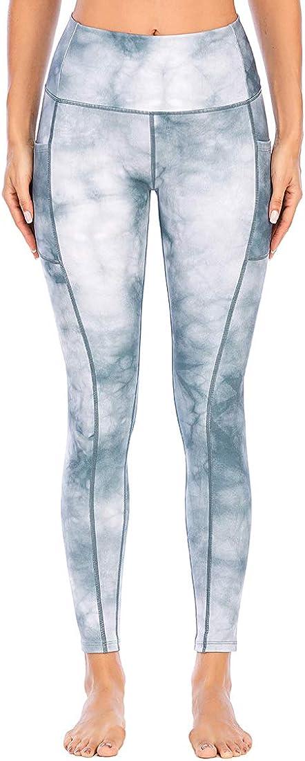 Lianshp Yoga Pants with Pockets for Women Tie Dye Leggings High Waist Tummy Control Athletic Workout Running Leggings 25