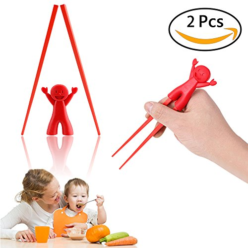 Baby Children Beginner Learning Traning Helper Chopsticks Flatware Right Handed with Lovely Silicone Mashimaro Rabbit (red) ()
