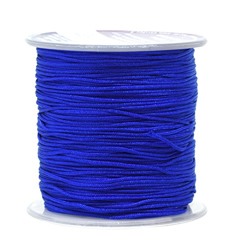 Mandala Crafts Nylon Satin Cord, Rattail Trim Thread for Chinese Knotting, Kumihimo, Beading, Macramé, Jewelry Making, Sewing (1mm, 109 Yards, Royal Blue)