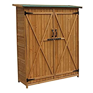 Wooden Garden Cabinet with double Doors made of Spruce Wood & Bitumen Roof, 1350x500x1540mm