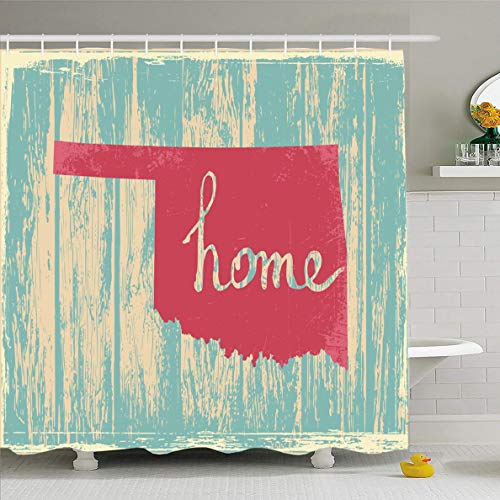 Ahawoso Shower Curtain 60x72 Inches Geographical Proud Oklahoma Nostalgic Rustic Vintage State Country Americana America American Area Waterproof Polyester Fabric Set with Hooks