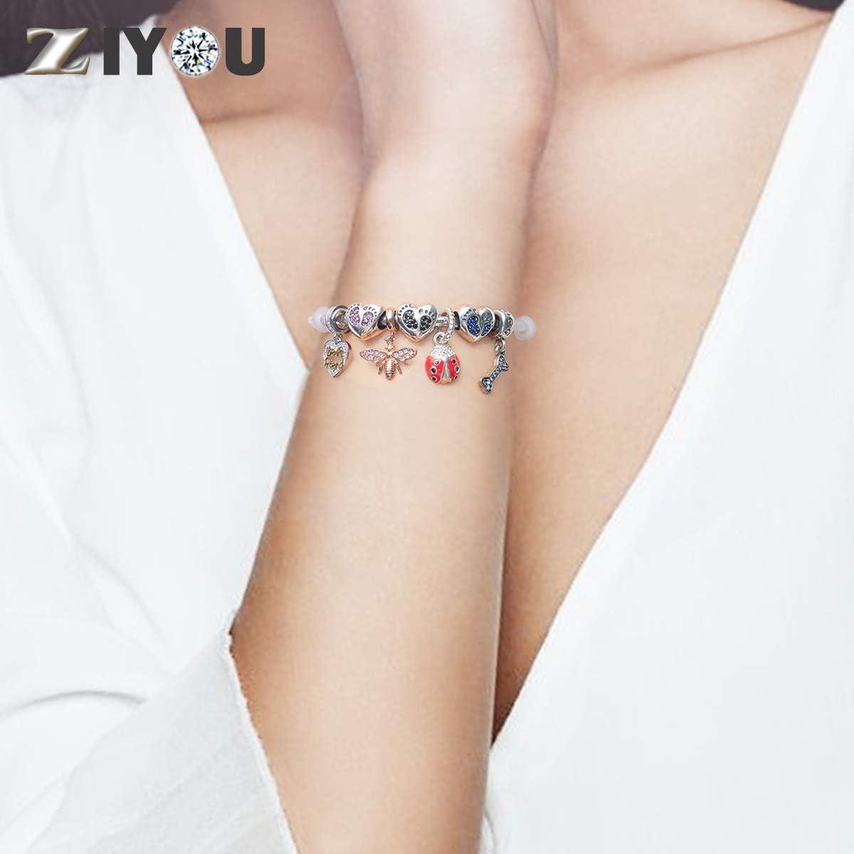 ZIYOU Argent Sterling 925/Pierre de Naissance b/éb/é Empreinte Charm en Forme de c/œur Cristal avec lenfant Coupe europ/éenne Bracelet Collier