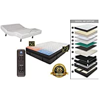Adjustable Wireless Remote Bed Frame Base Zero Gravity and Dual Massage Electric Bed Frame Bundle with Luxury Support Dual Adjustable Digital Sleep Air Bed System Airbed Mattress Medallion TXL Size