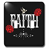 3dRose RinaPiro Sugar Skull - Faith. Red Magnolia flowers. Bird. Black background. - Light Switch Covers - double toggle switch (lsp_282861_2)