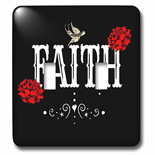 3dRose RinaPiro Sugar Skull - Faith. Red Magnolia flowers. Bird. Black background. - Light Switch Covers - double toggle switch (lsp_282861_2) by 3dRose