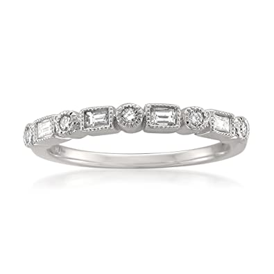 Amazon.com: 14k White Gold Round & Baguette Diamond Bridal Wedding ...
